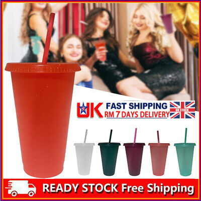 £10.49 • Buy HOT!!!  Flash Powder Shiny Reusable Plastic Tumbler With Lid And Straw Cup UK