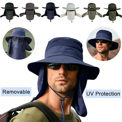 £9.89 • Buy Unisex Outdoor UV Protection Sun Hat Wide Brim Fishing Cap With Removable Flap