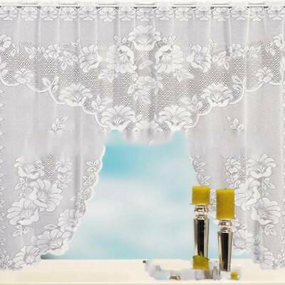 £4.07 • Buy Lace Coffee Cafe Net Curtain Panel Tier Curtain Set Kitchen Window Curtains BA