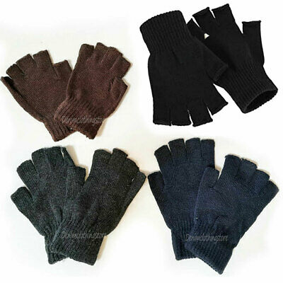 $8.45 • Buy 4 Pairs Winter Half Finger Gloves Knitted Fingerless Mittens Warm Stretchy Glove