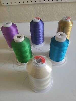 $13.85 • Buy 6 Polyester Machine Embroidery Thread Huge 5000m (5500 Yard) Cones