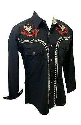 $35 • Buy Men RODEO WESTERN COUNTRY BLACK RED STITCH TRIBAL SNAP UP Shirt Cowboy 07730 NWT