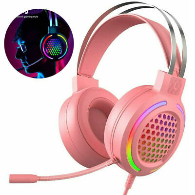 AU34.89 • Buy Soft Gaming Headset Headphones USB Port RGB Backlit With Mic For PC Mac Computer