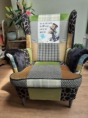 £350 • Buy Wing Back Fireside Armchair Patchwork Feat:Mad Hatter