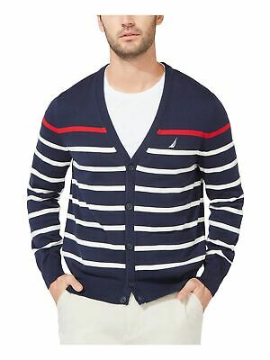 $18.90 • Buy NAUTICA Mens Navy Striped Classic Fit Button Down Cotton Sweater XL
