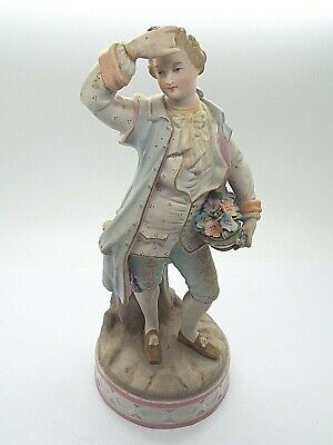 £9.99 • Buy Antique Bisque China Figure Of A Continental Dandy 18thc Era Costume