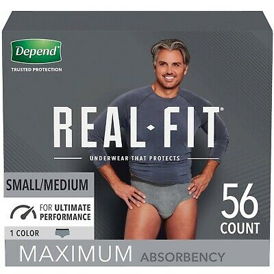 $49.99 • Buy Depend Real Fit Men's Maximum Incontinence Underwear, S/M, Grey , 56 Count