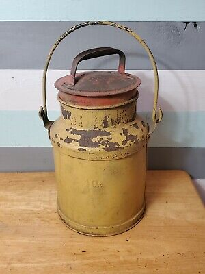 $24.97 • Buy Antique Metal Steel 4 Qt. Milk Can With Handle And Lid.