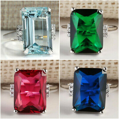 £2.81 • Buy 4Color Gorgeous 925 Silver Jewelry Wedding Rings For Women Aquamarine Ring #6-10