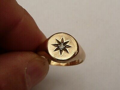 $479.35 • Buy Fab Mens Solid 9ct Gold & Diamond Heavy Signet Pinky Ring Size S 19.15mm 8 Grams