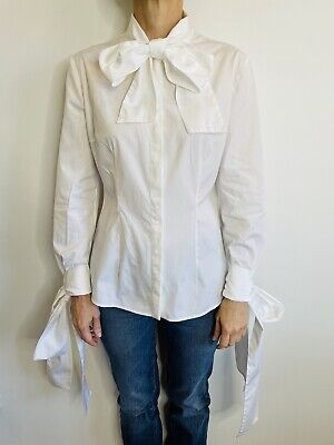 AU299 • Buy Alexander McQueen Size 46 (14) White Tie Blouse Made In Italy Designer Label