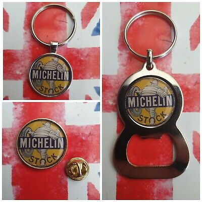£2.79 • Buy Michelin Man Stock Vintage Style Tyres Sign Hot Rod Pin Keyring Bottle Opener