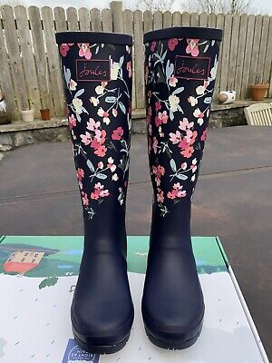 £60 • Buy Joules Size 7 Navy With Pink Flowers Tall Wellies - Beautiful Pattern - New!