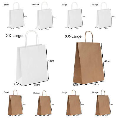 £5.09 • Buy 1-500 Brown & White Paper Bags With Twisted Handles. Party, Gift & Carrier Bag