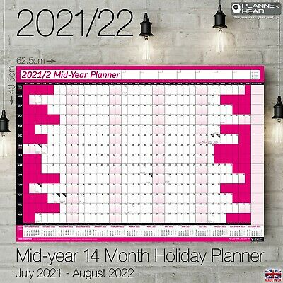 £3.19 • Buy 2021-2022 Mid-Year A2+ Wall Calendar Planner 14 Months Academic Home Office PINK