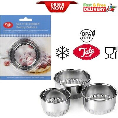 £4.17 • Buy Set X 3 Crinkled Scone Fluted Pastry Cutters Tart Quiche Stainless Steel Mince