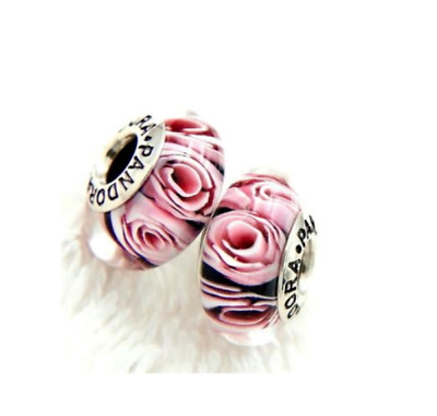 AU32.99 • Buy 2 Pcs Authentic Pandora Sterling Silver Murano Pink Rose S925 ALE Charm # ZS37
