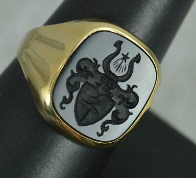 £395 • Buy Vintage 9 Carat Gold And Onyx Intaglio Signet Ring