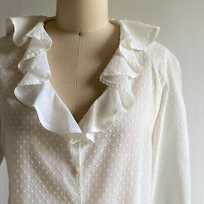 £90.04 • Buy Vintage 70s Laura Ashley 100% Cotton Dotted Swiss Blouse Carno Wales Fits Size 4
