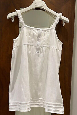 £9 • Buy The Little White Company Girls Top Vest 3 Buttons Sleeveless White Strappy.13 Yr
