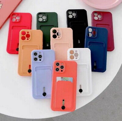 AU6.71 • Buy Silicone Case For IPhone 12 Pro Max 11 XS XR 8 7 Plus Shockproof Card Slot Cover
