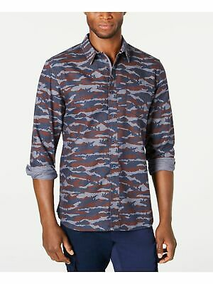 $4.99 • Buy AMERICAN RAG Mens Navy Camouflage Collared Classic Fit Woven Dress Shirt L