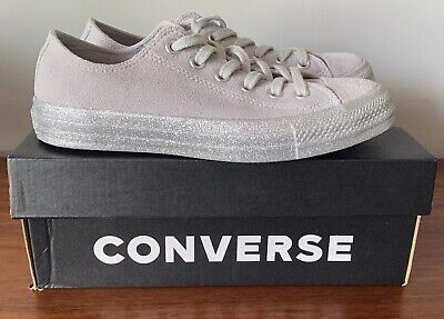 £27 • Buy Converse ALL STAR Low Suede Ash Grey Silver Glitter Trainers  UK 5 New In Box