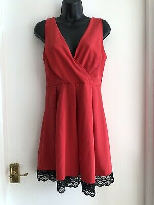 £6.99 • Buy Wal G Red Skater Dress Lace Trim Size Medium
