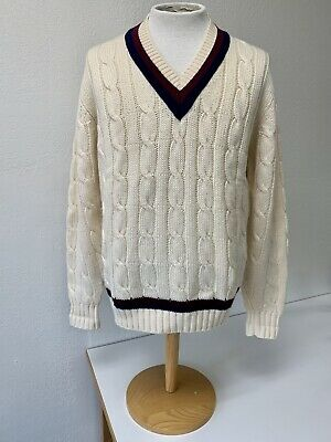 $90 • Buy Brooks Brothers Mens Large Cable Knit Wool Tennis Cricket Preppy V Neck Sweater
