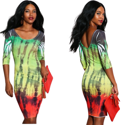 £17.17 • Buy REGGAE RASTA, 3/4 Short Dress With Scoop Neck And A Low Back