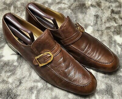 $ CDN152.37 • Buy ARTIOLI Men's Brown Leather Gold Buckle Loafers Italy Shoes US 12M