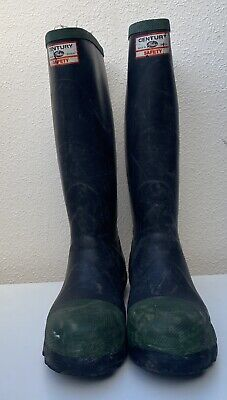 £40 • Buy Vintage Century By Gates Safety Wellies Rubber Boots Steel Toe Green Trims 7