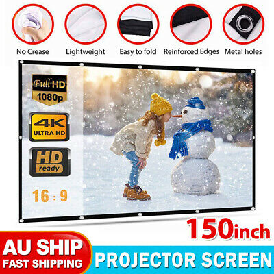 AU23.95 • Buy 150  16:9 White Projector Screen Portable Outdoor Home 3D Movie Cinema Foldable