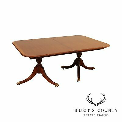 $1195 • Buy Mahogany Banded Top Double Pedestal Duncan Phyfe Style Dining Table