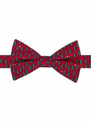 $3.89 • Buy TOMMY HILFIGER Mens Red Novelty Print Christmas Silk Bow Tie