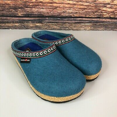 £29.99 • Buy Haflinger Grizzly Franzl Slippers Clogs Forest Blue Wool Slip On Womens Size 35