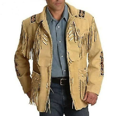 $71.95 • Buy Men Brown Suede Western Style Cowboy Leather Jacket With Fringe, Size Small