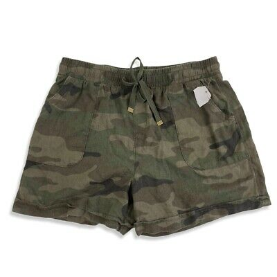 £9.94 • Buy NWT Time And Tru Linen Green Camouflage Shorts Sz S Drawstring Elastic Waist