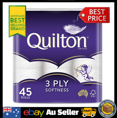 AU30.90 • Buy [Best Selling Brand] Quilton 3 Ply Toilet Paper Pack Of 45 White Soft Tissue
