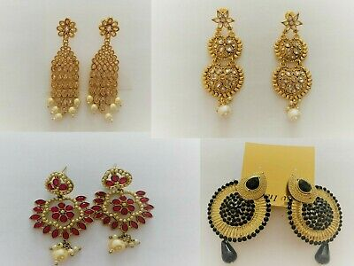 £4.99 • Buy New! Indian Kundan Large Gold Earrings With Pearl UK