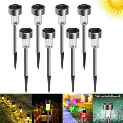 £7.99 • Buy 8 Packs Solar Powered LED Stake Lights Patio Outdoor Garden Stainless Steel Lamp