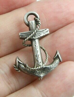 £9.99 • Buy Antique Victorian C1890 Small Sterling Silver Fouled Anchor Brooch Pin
