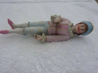 £6 • Buy Antique Bisque Figure Of A Man Hand Painted Back Is Flat In Parts