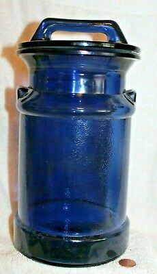 $27 • Buy Milk Can Canister Clear Blue Glass With Lid 10 1/2