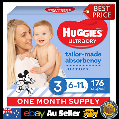 AU65.90 • Buy Huggies Ultra Dry Nappies Boy Size 3 (6-11kg) 1 Month Supply 176 Count