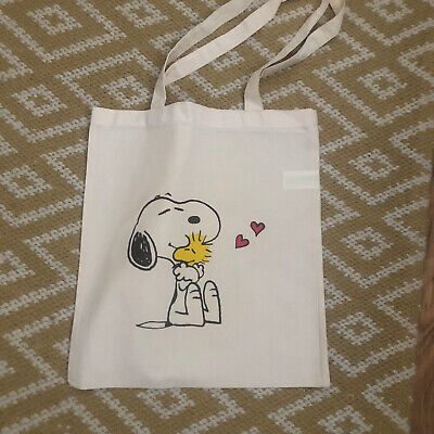£4.99 • Buy Snoopy & Wood Stock Love Canvas Tote Shopping Bag