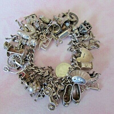 £59 • Buy FABULOUS VINTAGE SILVER CHARM BRACELET 30 + RARE, OPENING & MOVING WEIGHS 102.0g