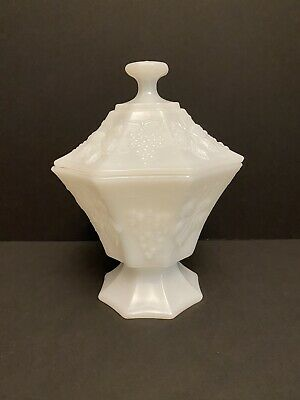 $12.97 • Buy Vintage ANCHOR HOCKING White Milk Glass Footed Candy Dish Embossed