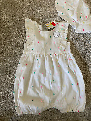 £5 • Buy Baby Girl White Romper And Summer Hat Set 9-12 Months Primark New With Tags