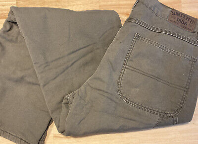 $7.90 • Buy Smith's Workwear Fleece Lined Olive Green Pants 34x34 Relaxed Fit